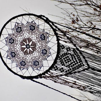 Macrame dream catcher, boho, bohemian, wall hanging, blue, large, handmade, wall decoration, crochet doily, macrame, bedroom, earthy, flower