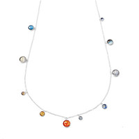 Long Sterling Silver Solar System Necklace