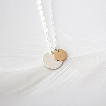 Polished Double Disc Necklace - Sterling Silver and 14k Gold Filled - Orbit