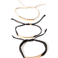 Metal-Plated Cord Bracelet Set
