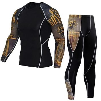 Mens Sports Running Suit Compression Shirts Pants Fitness Training Clothing Professional Yoga Sportswear Outdoor Gym Spots Suits