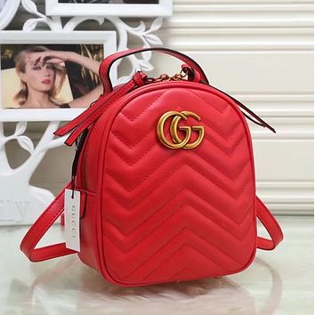 91396d2883feb3 GUCCI Women Casual School Bag Cowhide Leather Backpack