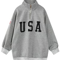 Gray Letter American Flag Patch Zipper Front Sweatshirt