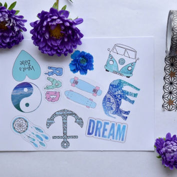 Blue theme tumblr stickers / laptop sticker / phone sticker / binder sticker / Tumblr sticker / stickers / boho stickers / teen stickers