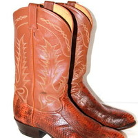 TONY LAMA Boots Cowboy Snake Skin Brown Leather Mens Size 13 D