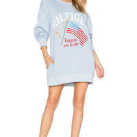 Hilfiger Collection Patchwork Flag Sweatshirt in Cashmere Blue & Multi | REVOLVE