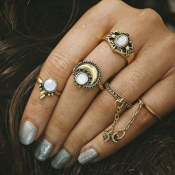 5pcs Boho Beach Tibetan Moon And Sun Midi ring Sets