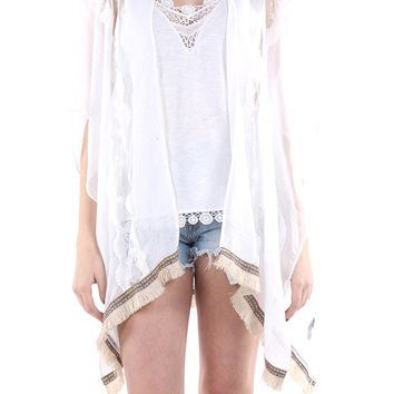 Beige Tribal Pattern Ribbon Trim Fringe Poncho