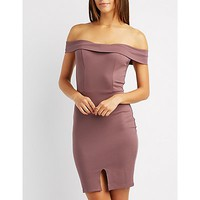 Foldover Off-The-Shoulder Bodycon Dress | Charlotte Russe