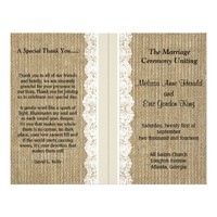 Rustic Burlap & Lace Wedding Programs-Ivory Ribbon Flyers