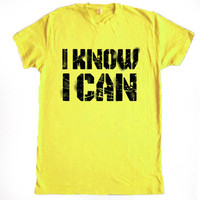 I Know I Can Unisex Crew Neck Cotton Workout Fitness Gym Crossfit Running Training Tshirt from R+E