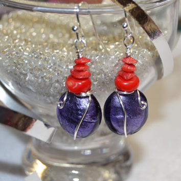Purple earrings, coral dangles, purple and red earrings, wire wrapped glass, fused glass, foil lined glass, murano glass, last minute gift
