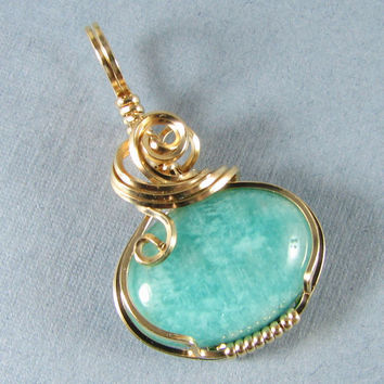 14k Gold Filled Amazonite Pendant Wire Art by WireYourWorld