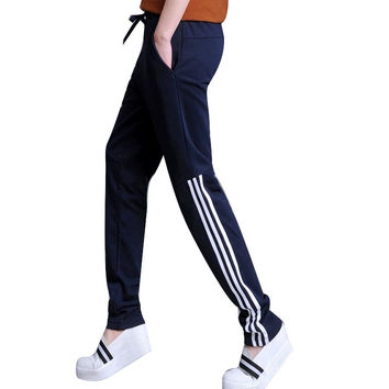 2016 Summer Pants Women Casual Fit Pants Cotton Harem Pants Casual Elastic Waist Stripe Leisure Trousers Plus Size Sportswear