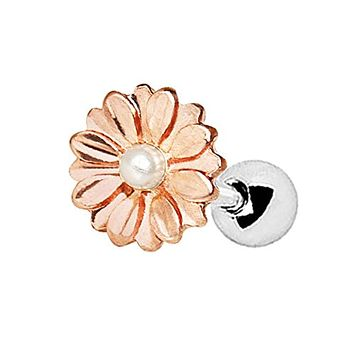 Rose Gold Plated Sweat Pearl Daisy WildKlass Cartilage Earring
