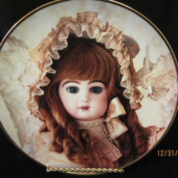 Doll Plate Franklin Mint, Colette, Gift Idea, Fine Porcelain Limited Edition, Hanau Doll Museum Heirloom, made in Portugal, Vintage