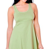 Cotton Knit Empire Waist Chemise w/Lace Trim (Medium)