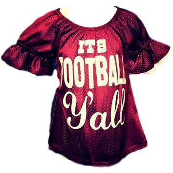 """Toddler Football Mesh Bell Sleeve Jersey w/ """"It's Football Y'all"""" Print, Burgundy-White"""