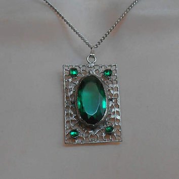 Art Deco Filigree Emerald Glass Necklace, Rhodium Plated, Large Rectangular Pendant
