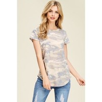 Short Sleeve Camo Knit Top