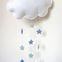 Cloud Mobile, Cloud and Stars, Felt Cloud,  Wall Hanging, Window Hanging, Cloud Nursery Decor, Nursery Mobile