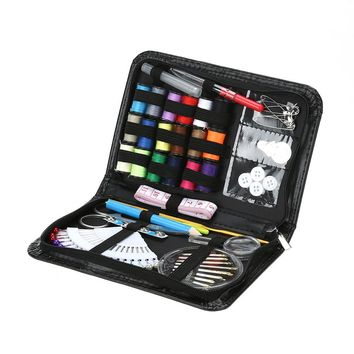 91 PCS Sewing Kit Thread Coil Buttons Crochet Hooks Needles Stitches Needle Safty Pin Craft Case Travel Sewing Kit Accessories C