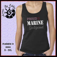 Rhinestone MILITARY PROUD T Shirt or Tank in Womens sizes S - 3XL Army Navy Air Force Marine Wife Girlfriend Mom Etc