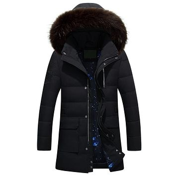 Casual Fur Collar Hooded Men Down Parka Long  Warm Men Jackets And Coats Winter