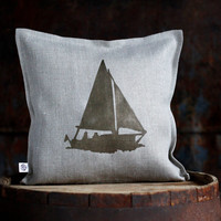 Boat print on gray linen pillow cover hand painted - marinistic style pillow cover with couple people in yacht