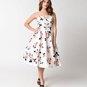 Stop Staring! 1950s Style White & Pink Rose Print Swing Dress