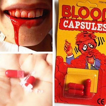 ICIK272 Free Shipping 18 pcs/set Safty Funny Blood Pill Trick Toys Whimsy Prop Vomiting Blood Capsule April Fool's Day Joke Toys GYH ZZZ