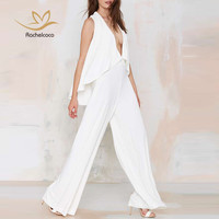 Rachelcoco 2016 New Summer Jumpsuit Women Sleeveless Off The Shoulder Sexy V Neck Fashion Wide Leg Romper Womens White