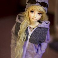 SD zipped hoodie with wine red panel clothing for ball jointed dolls BJDs
