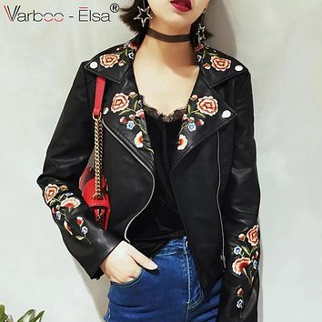 VARBOO_ELSA black punk style leather jacket floral embroidered women 2017 autumn PU Faux Leather Jackets Motorcycle Zipper coat