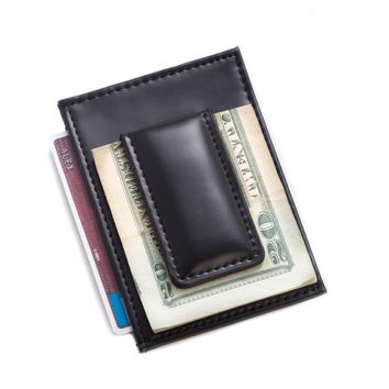 Black Leather Magnetic Money Clip & Wallet with ID Window.
