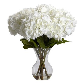 Silk Flowers -Large Hydrangea With Vase Flower Arrangement Artificial Plant