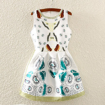 White Floral Print Pleated Skater Dress
