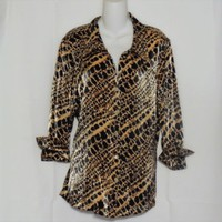 Scott Taylor Size 1X Animal Print Blouse