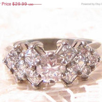 Vintage Sterling Silver with CZ Stones Ring Size 6.25
