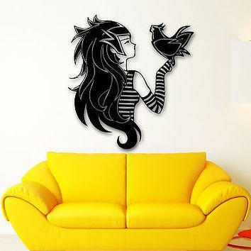 Wall Sticker Vinyl Decal Teen Girl with Bird Anime Manga Cartoon Kids (ig553)