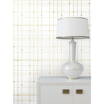 Thermoscad Self Adhesive Wallpaper in Metallic Gold and White by Bobby Berk for Tempaper