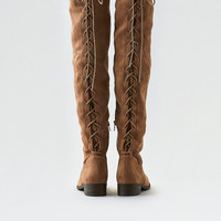 AEO Lace-Up Over-The-Knee Boot, Taupe