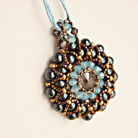 Swarovski crystal pendant necklace beaded rivoli pearl midnight blue mint green bronze seed bead intricate