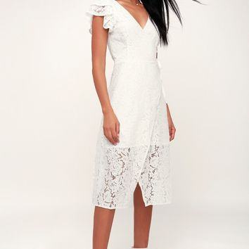 Laces and Paper Flowers White Lace Wrap Midi Dress