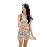 Rhyme Lady 2017 new Women's Bathing Suit Cover Up Swimsuit Beach Wear See-Through lady Beach Cover Up sexy swimwear