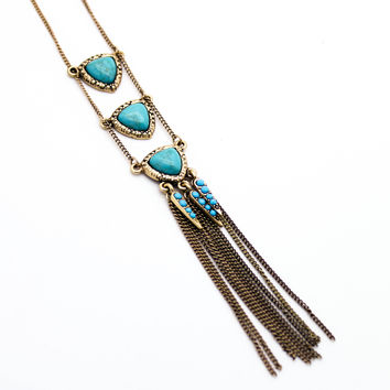 Triangle tassel long necklace