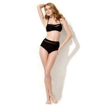 Beach New Arrival Hot Swimsuit Summer Black Lace Sexy High Rise Swimwear Bikini [6033390145]