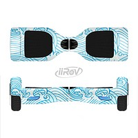 The Seamless Blue Waves Full-Body Skin Set for the Smart Drifting SuperCharged iiRov HoverBoard