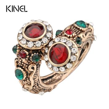 Turkish Red  Rings Antique Gold Color Women's Jewelry Double Head Red Gem Stone Finger Ring Free Shipping