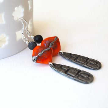 Long Earrings, Bright Orange Earrings, Metal Earrings, Lampwork Glass Earrings, Diamond Shaped Earrings, Rustic Earrings